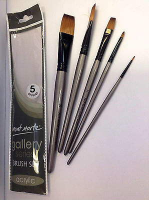 5pc Mont Marte Acrylic Paint Brush Art Round Flat Detailer Artist Painting Profe