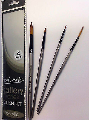 4pc Mont Marte Acrylic Paint Brushes Art Artist Painting Brush Set Taklon