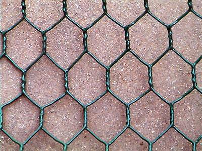 PVC COATED FENCE MESH Wire Net 25m x 25mm Chicken Hex Netting Green 19 Gauge