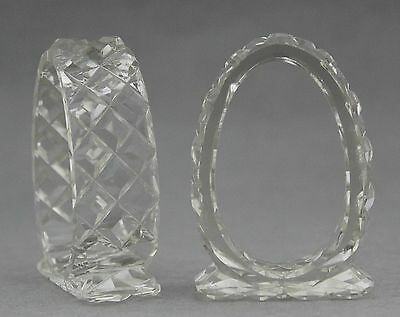 Two 2 Oval Crystal Napkin Rings Vintage Cut Shabby Kitchenalia High Tea