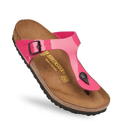 Birkenstock Birko Flor Gizeh $149.95rrp - Patent Hot Pink Lacquer - BNIB 845601