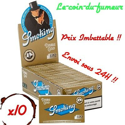 Lot - 10 Carnets De 120 Petites Feuilles à Rouler Smoking Gold Regular, Promo !!