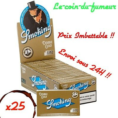 Lot - 25 Carnets De 120 Petites Feuilles à Rouler Smoking Gold Regular, Promo !!