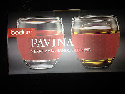 BODUM PAVIA GLASS  SET WITH SILICONE SLEEVE 2 PACK NEW IN BOX FREE POST (c28)