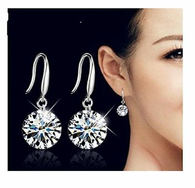 925 Sterling Silver Earrings Ladies Beautiful Round 8 mm Crystal Drop Dangle