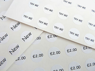Small Circular Price, Pricing Retail Labels, Black Print onto White Stickers