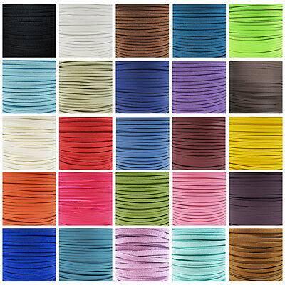 FAUX SUEDE FLAT CORD 3mm & 5mm *45 COLOURS* CRAFTS JEWELLERY MAKING STRINGING