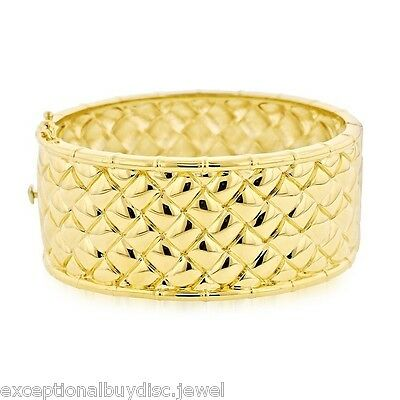 14K Gold & Bz Big Diamond Cut Cuff Bangle Bracelet Sz 7 Inch  Italian 90 Gr