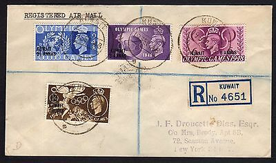 BRITISH COLONIES&TERRITORIES 1948 Reg. Cover from Kuwait to New York (CI1)