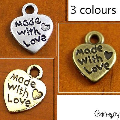 Made With Love Heart charms ~PACK 10/50 antique silver/bronze/gold tag craft