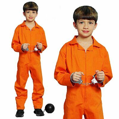 Boys Prisoner Orange Hostage Boilersuit Convict Jail Party Fancy Costume Yr 7-12