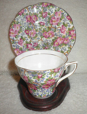 Rosina Bone China England Footed Cup & Saucer Floral Chintz