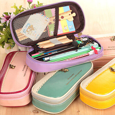 PU School Student Stationery Canvas Pen Bag Pencil Case Cosmetic Travel Makeup