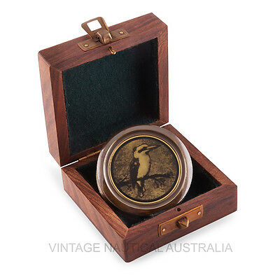 Compass-Kingfisher Vintage,Waltzing Matilda Lyrics Engraved (Wooden Case)
