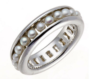 Freshwater Cultured Pearl Solid 925 Sterling Silver Band Ring Choose Size