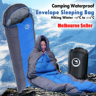Outdoor Camping Envelope Sleeping Bag Thermal Hiking Winter Single -10°C OZ