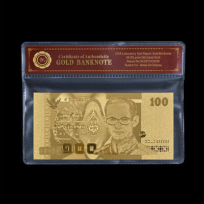 Thailand Banknote Gold 100 Baht Thai Bank Note 60th Royal Wedding For Collection