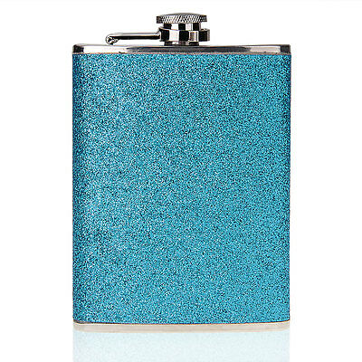 8oz Stainless Steel Alcohol Drink Liquor Whisky Hip Flask Blue
