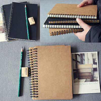 1x Retro Spiral Bound Coil Sketch Book Blank Notebook Kraft Sketching Paper