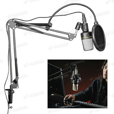 Adjustable Mic Stand Professional Microphone Arm Tripod Holder With Clip UK