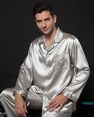 NEW Men's Silk Satin Pyjama Sleepwear Nightwear Bathrobe Pyjamas Set Gold Gray