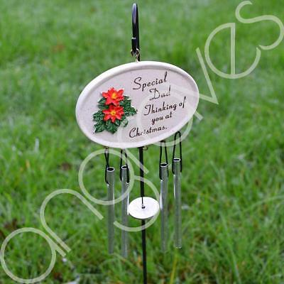 Special Dad at Christmas Poinsettia Memorial Wind Chime Graveside Tribute