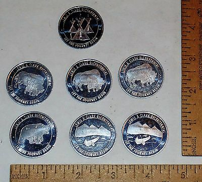 7 CONOCO Along The LEWIS & CLARK TRAIL - MONTANA - aluminum TOKENs or COINs