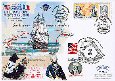 """Maxi FDC USA-FRANCE """"Stopover 4 Yorktown - HERMIONE / US War Independence"""" 2015"""