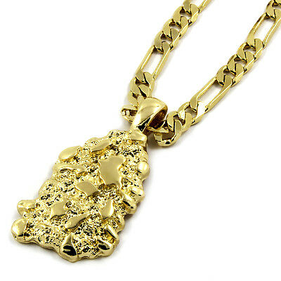 """Mens 14K Gold Plated Nugget Pendant Hip-Hop 5mm/24"""" Figaro Chain"""