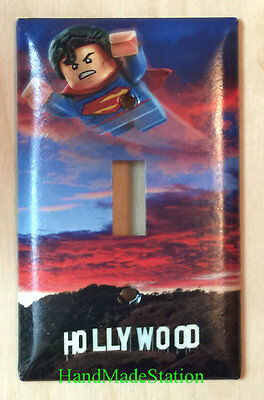 Lego Superman flying Hollywood Light Switch Power Outlet Wall Cover Plate decor