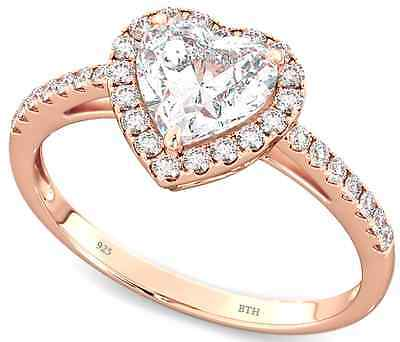 Ladies 925 Sterling Silver Rose gold Heart Wedding Engagement Band Ring