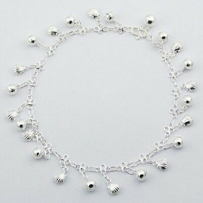 Anklet sterling 925 silver sea shell & sphere charms handcrafted 270mm chain new