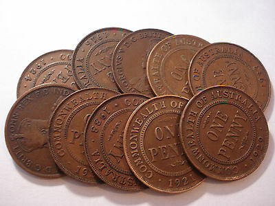 Australian Copper KGV Penny / Pennies Bulk Lot 10 pc