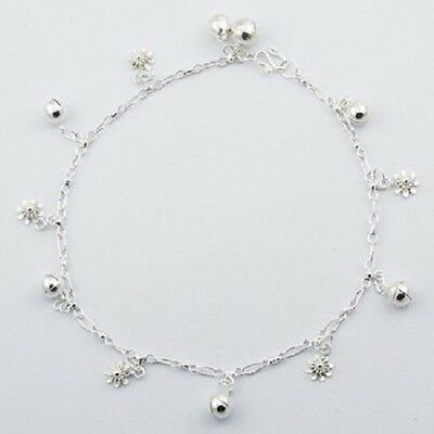 Anklet sterling 925 silver petite flower & sphere charms handcrafted 270mm new
