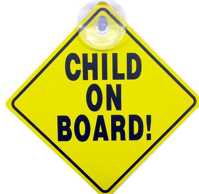 Child On Board Car Sign Safety Vehicle Display Signs Suction Cup Yellow Badge Uk
