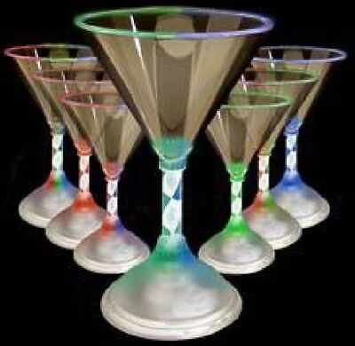 Bulk Lot 12 x Light Up Cocktail Martini Glasses LED Flashing Cup Party Rave New