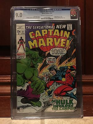 Captain Marvel #21 Cgc 9.0 Vf/nm Vs Hulk (Id 6662)