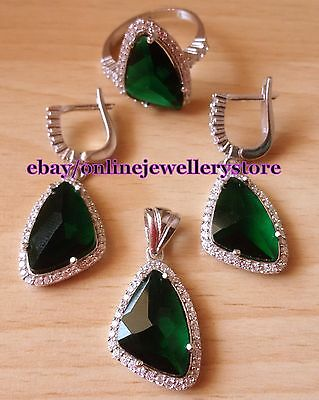 925 Silver Emerald Triangle Jewelry Set Ring Earrings Pendant Green Dangle