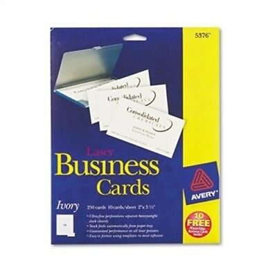Two-Side Printable Business Cards, Laser, 2 x 3-1/2, Ivory, Uncoated, 250/Pack