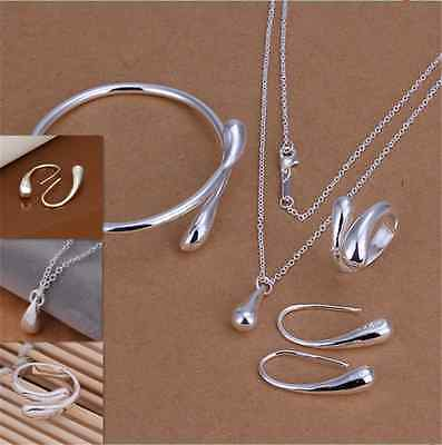 925 sterling silver drop Necklace Bracelet Bangle Earring and Ring Jewellery Set