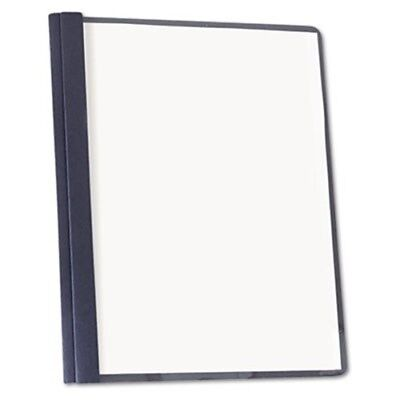 Clear Front Report Cover, Tang Fasteners, Letter Size, Dark Blue, 25/Box
