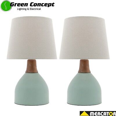 NEW PAIR OF Mercator Madeline Bedside Table Lamps Egg Green Grey Shade A62911DE