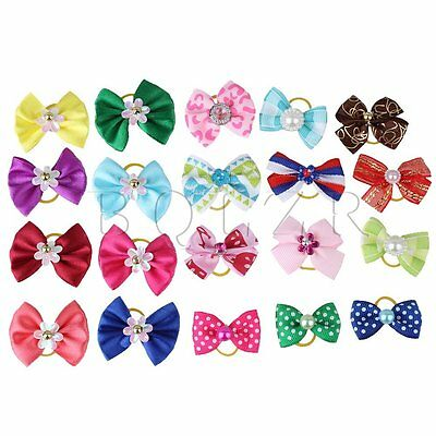 20 Pcs Lovely Hair Bow With Rubber Bands For Dog Cat Puppy