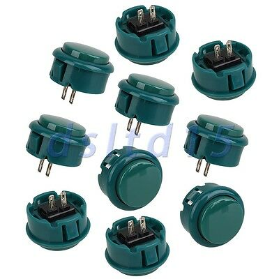 10pcs Green Arcade Push Button Replacement Fitting Parts 30mm Diameter OBSF-30