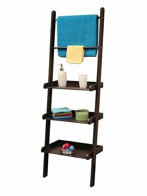 RiverRidge Home Freestanding Bathroom Ladder Shelf with 2 Towel Bars, Espresso