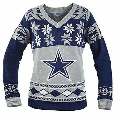 KLEW NFL Dallas Cowboys Womens V-Neck Sweater, Small, Blue