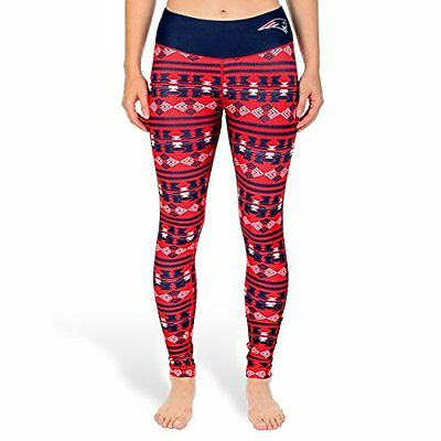 KLEW NFL New England Patriots Womens Aztec Print Leggings, Blue, Medium