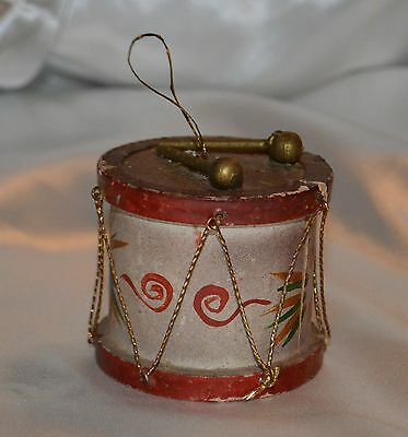 Vintage Hand Crafted & Painted Drum & Drum Sticks Wood Christmas Ornament
