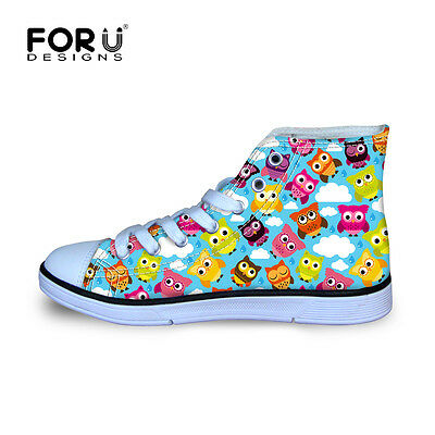 Cartoon Owl Kids Girls Canvas Sports Shoes Flat Lace up High Top Sneakers New