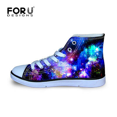 Cool Galaxy Space Kids Girls Canvas Sports Shoes Flat High Top Sneakers Athlete